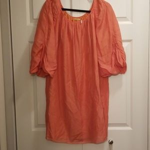 Cotton Tunic Dress (Coral)